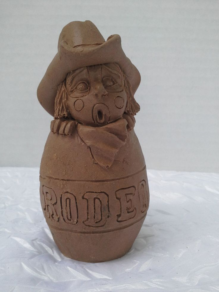 Rodeo Clown in Barrel Sculpture by Michelle Phelps by VintageScissortail on Etsy