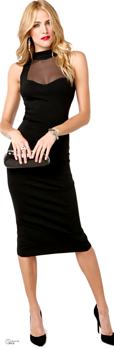 ✿Timeless Style Classic Black✿  *Akira ● Black Keyhole Back Dress