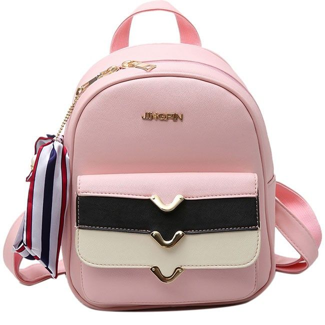 Wow! Cute PU Colorful Stripe Flap Decorative Backpack Street Style Small Leisure College Backpacks only $29.99 from Atwish.com! I like it so much!!