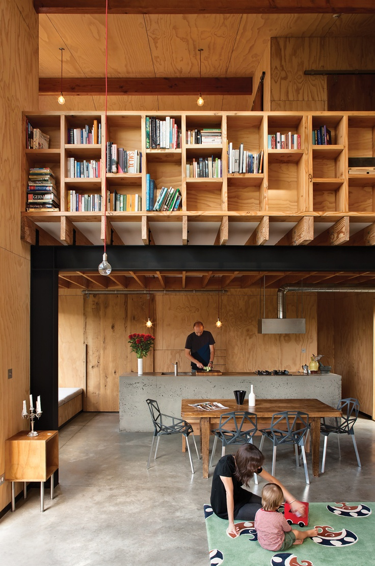 What the heck am I looking at here? How do you get to those shelves? | Dwell: Spaces, Plywood Interiors, Bookshelves, Architects, Living Dining Rooms, Loft, Book Shelves, House, New Zealand