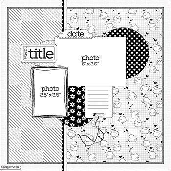 12X12 Scrapbook Sketch 2 Photos Room for a Title, Date, Journaling, and Embellishments.