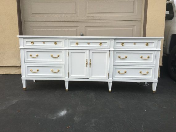 SAMPLE: White and gold Mid-Century Modern Dresser, Tv Stand, Credenza, buffet, Nursery, Changing Table