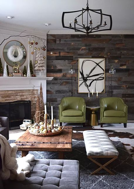 Perfect blend of rustic and glam. Love the Home Goods Christmas trees! And brass/marble accent table from Home Goods is the perfect fit between those chairs. {Sponsored}