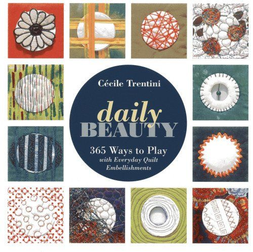 Add the magic of everyday life to your quilts It's true...just a simple item from your make-up bag can put the perfect touch on your quilt! Cecile's featured quilt of 365 blocks (one for each day of the year) celebrates the extraordinary beauty of ordinary life with perfectly round and richly embellished cotton cosmetic pads. Take advantage of the pads' small scale and soft surface to experiment with a wide variety of stitching styles and mixed-media techniques.