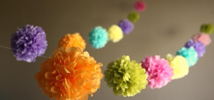Party pomsPaper Garlands, Pom Poms, Paper Pom Pom, Pompom, Tissue Paper Pom, Tissue Flower, Tissue Pom Pom, Birthday Parties Decor, Diy Wedding