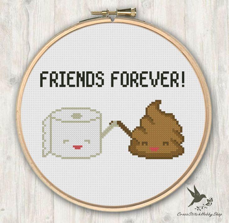 Poop Toilet Paper Friends Forever, funny cross stitch pattern, modern cross stitch pattern, poop cross stitch pattern, needlecraft by CrossStitchHobbyShop on Etsy https://www.etsy.com/listing/258906523/poop-toilet-paper-friends-forever-funny