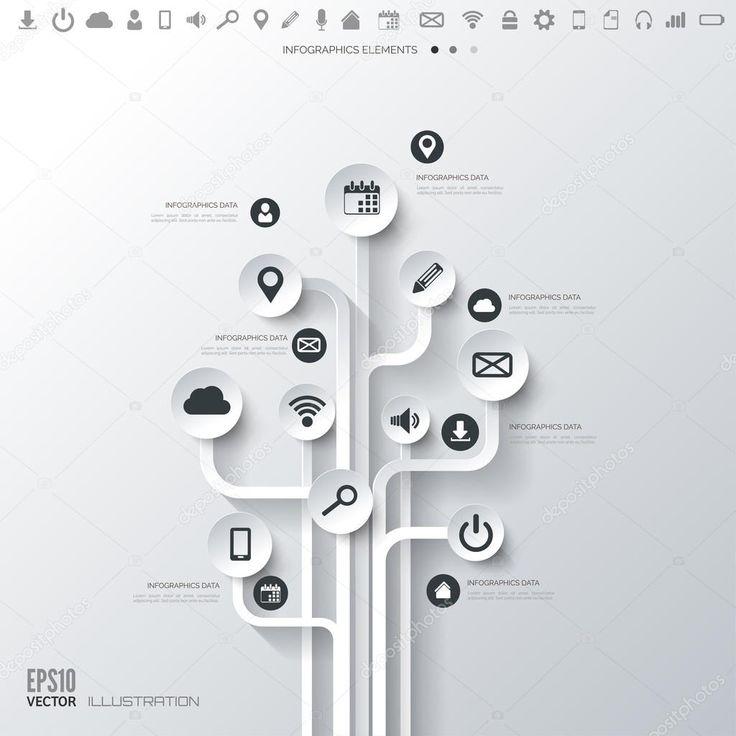 Árbol de icono. fondo plano abstracto con los iconos de la web. símbolos de interfaz. la computación en nube. concepto móvil devices.business