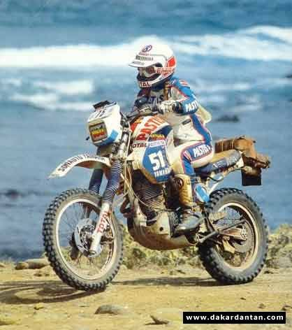 Veronique Anquetil competed in the Dakar rally several times.  This photo is of her on her Yamaha XT 600 in 1984.