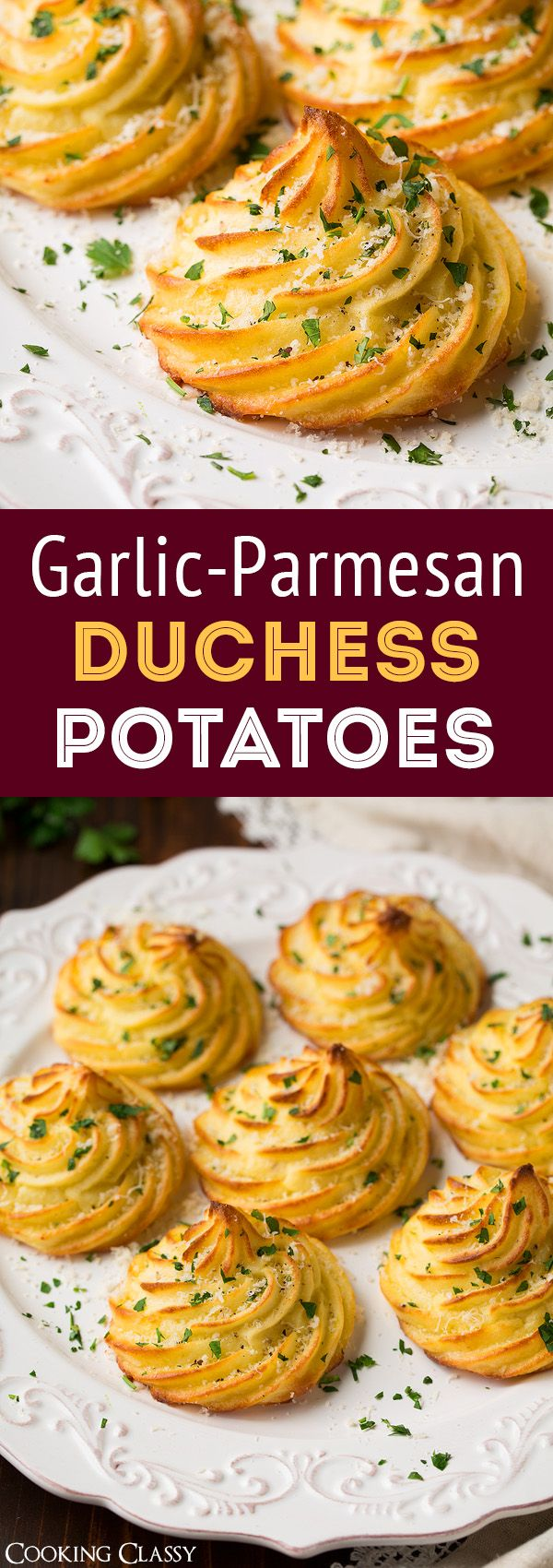 Garlic Parmesan Duchess Potatoes - you NEED these in your life! Little buttery clouds of potato bliss!