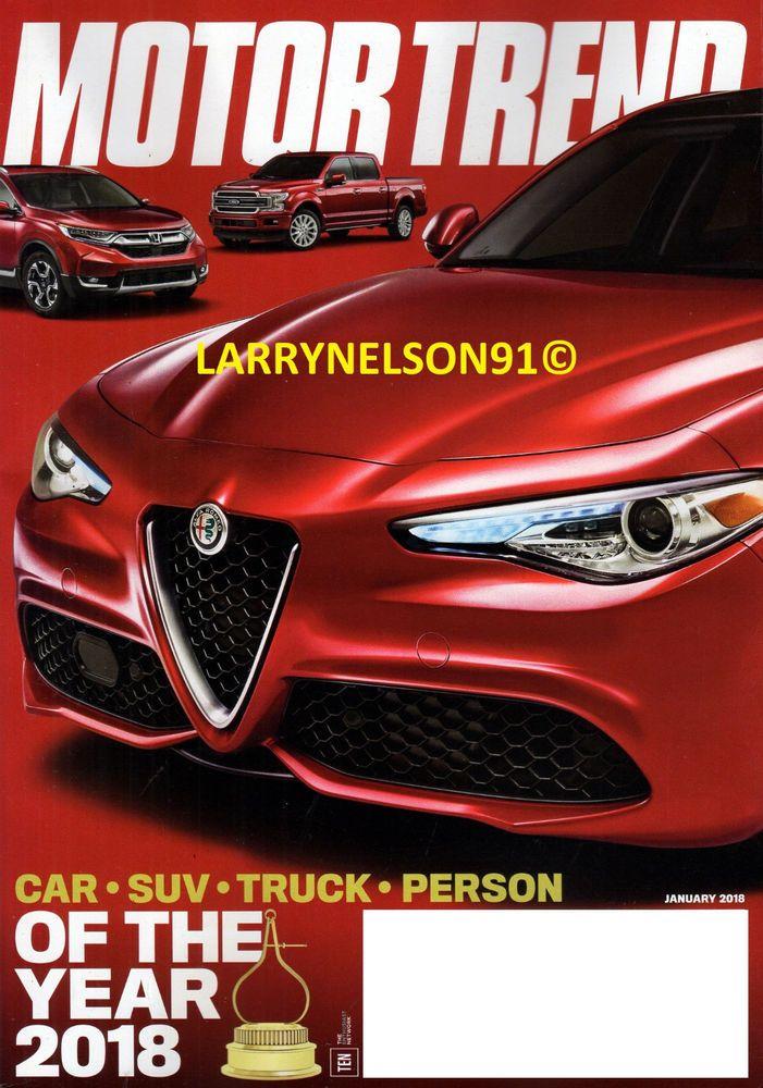 MOTOR TREND MAGAZINE JANUARY 2018 CAR SUV TRUCK PERSON OF THE YEAR ALFA KIA BMW