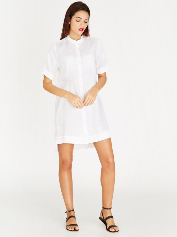 AMANDA LAIRD CHERRY Alice Linen Dress with Front Buttons White