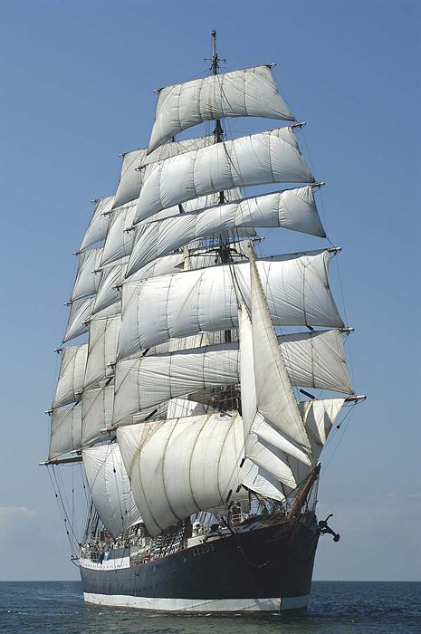 """Four-Masted Russian Barque """"Sedov"""" - When Sedov's sails are filled with the wind it's extremely fast and there is hardly a sailing ship that can be a rival to the barque"""