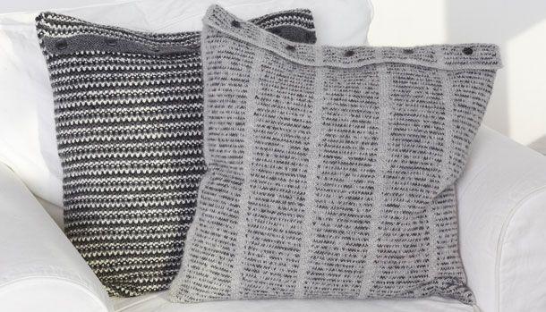 strikkede hyggepuder i grå nuancer