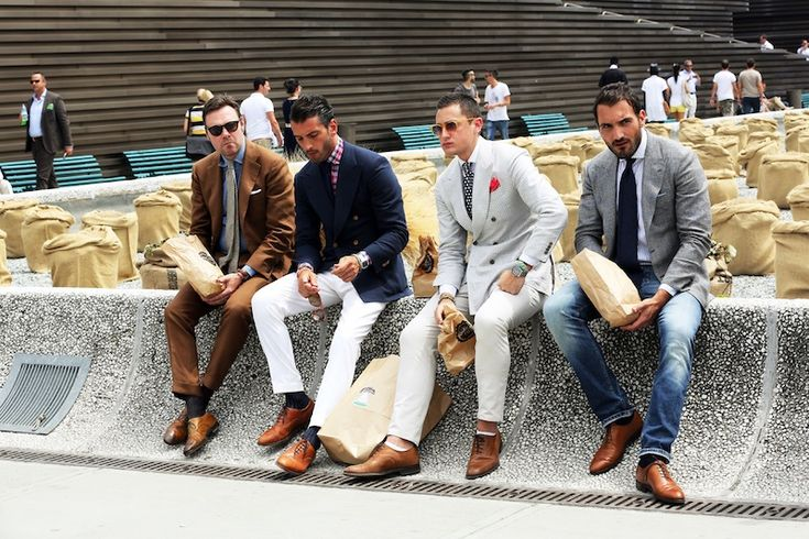 LOOOOOVE the fit of these suits on all of these men. If you're not a suit guy, simply wear them with jeans.   This picture is too perfect