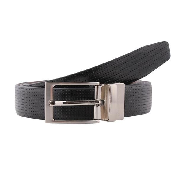 Hardy Amies black reversible leather belt with micro pin dot design. #Dapper #Gentleman #Men #Menswear #BritishTailoring #Suit #SlimFit #Shirt #Tailored #Vintage #Class #Streetstyle #Classic #Classy #HardyAmies #LondonStyle #ModernMan