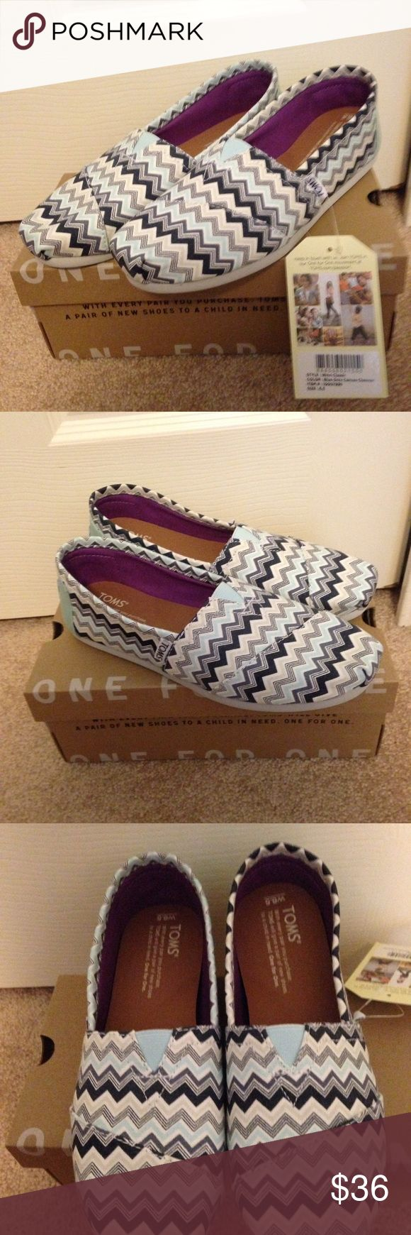Toms Classic shoes   NEW Blue grey canvas chevron TOMS Shoes Flats & Loafers