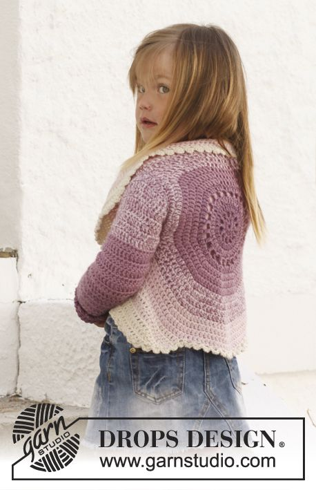 "DROPS Children 24-1 - Crochet DROPS circle jacket in 2 strands ""BabyAlpaca Silk"". Size 3 - 12 years. - Free pattern by DROPS Design"