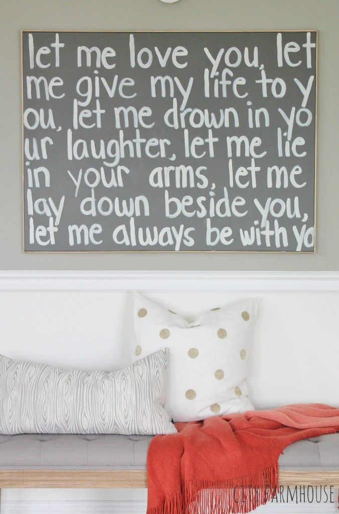 Wedding song turned into DIY Graffiti Art for master bedroom reveal