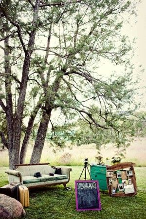 Not only a cool photo booth, but I also like the idea of using furniture outside to create areas in an expansive space
