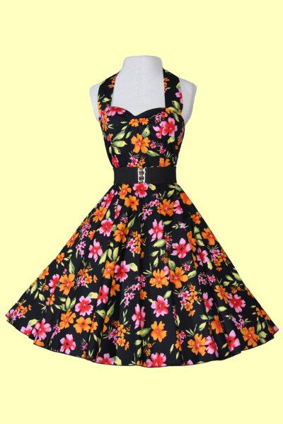 Black Velké květinové šaty