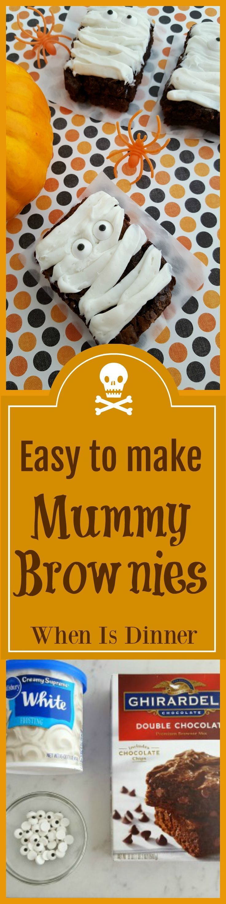 These fun Mummy Brownies are a great Halloween Party Snack Idea! They're quick & easy to make and would be perfect for kids to decorate themselves. via @Kdkaren
