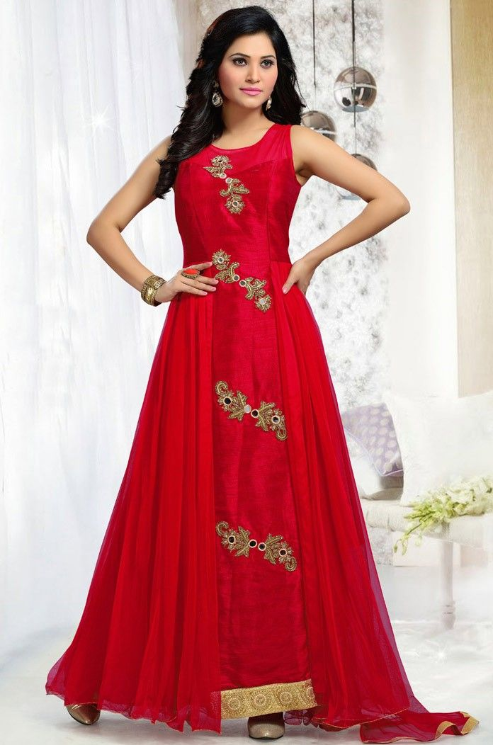 #Red Art Silk Churidar #Wedding #Anarkali #Suit with Dupatta