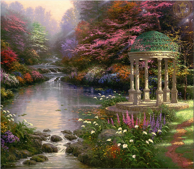 Kinkades art, born 1958 I'm engrossed in this painting. The artist has so much talent to be able to capture the whole scene - the intricacy of the pergola dome, the pretty flowers and tree blossom, and then the leaves floating along on the water as it trickles down towards us.  We do have a stunning world around us, don't we? ;) Mo
