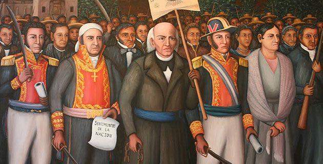 1810 a 1821-Guerra independencia Hispanoamerica - Independencia de Mexico en cuatro etapas:  --Inicio. Miguel Hidalgo y Costilla --Organización. José María Morelos  --Resistencia. Vicente Guerrero --Consumación. Vicente Guerrero y Agustín de Iturbide.