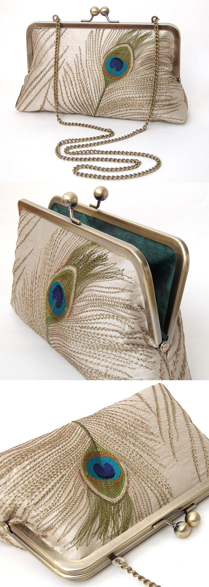 Peacock silk clutch bag £59.00. Taupe silk, with blue, green, gold and teal embroidery, lined with emerald green dupion. Perfect for a romantic peacock wedding, this clutch bag can also work fab for the mother of the bride, or other wedding guest at a winter or summer wedding, or vintage theme for a 1920s Gatby Christmas party. #weddings #peacock #christmasparty #motherofthebride #bridal #weddings #vintagetheme #affiliatelink #bags