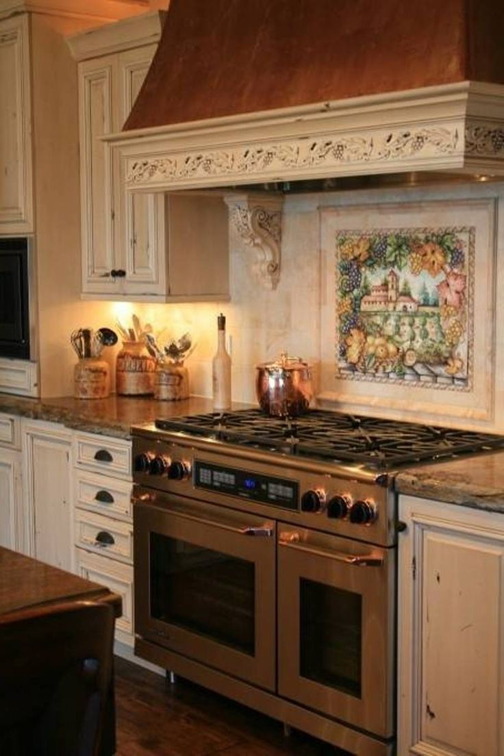 Italian style tile backsplash over stove style ideas for Tuscan style kitchen backsplash