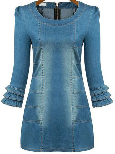 Blue Ruffle Sleeve Bleached Bodycon Denim Dress - Sheinside.com