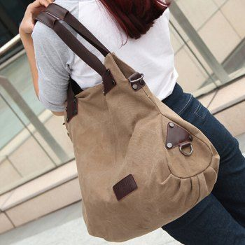 Simple Style Solid Color and Canvas Design Women's Shoulder Bag