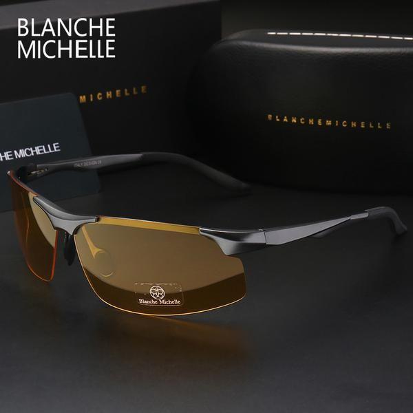 f622b4d22b5e FuzWeb:Aluminum Magnesium Men Sunglasses Polarized Sports Driver Night  Vision Goggles Glasses Fishing UV400 Rimless