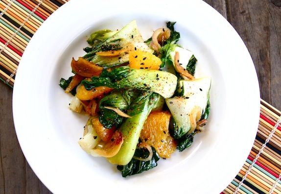 Cooking On The Weekends: Baby Bok Choy with Crispy Garlic Orange-Sesame Sauce