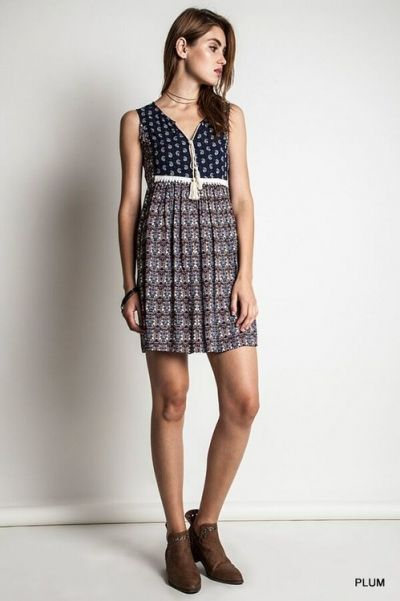 *** Mixed Printed Dress *** V-neck mixed printed woven dress with elastic banded on waist.