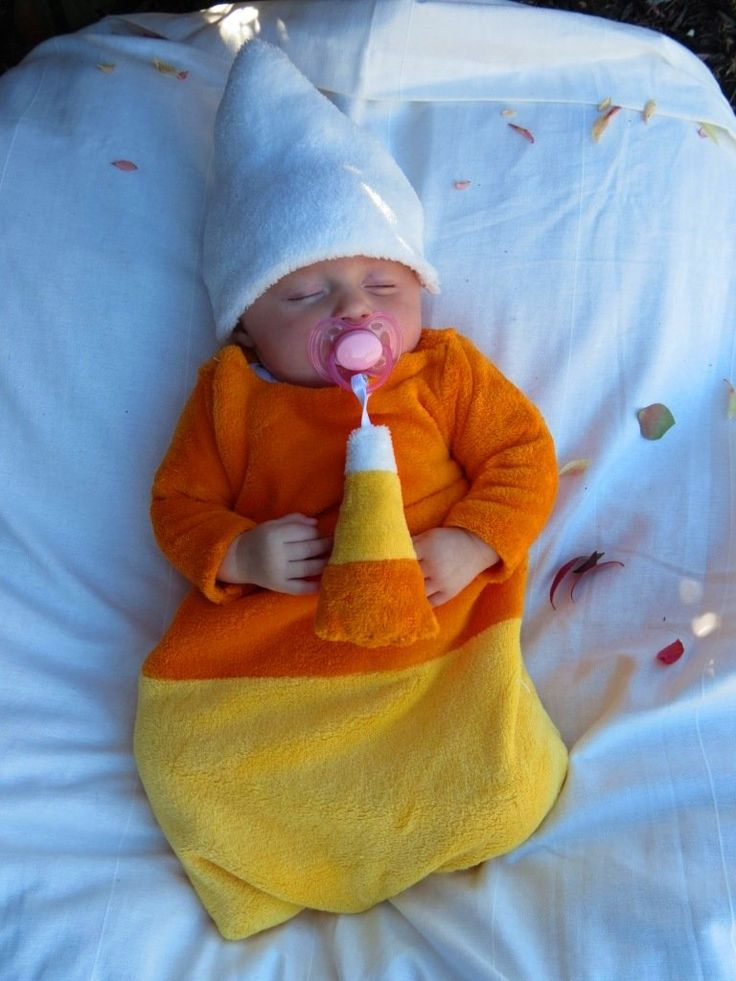 Bella Cross 3 Months Looks Cozy In Her Homemade Candy Corn Costume & Diy Baby Candy Corn Costume | Poemsrom.co