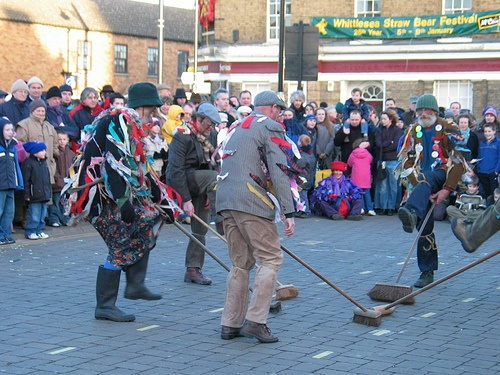 Mepal Molly dancing in the market square, Whittlesey, during the Straw Bear festival, January 2005