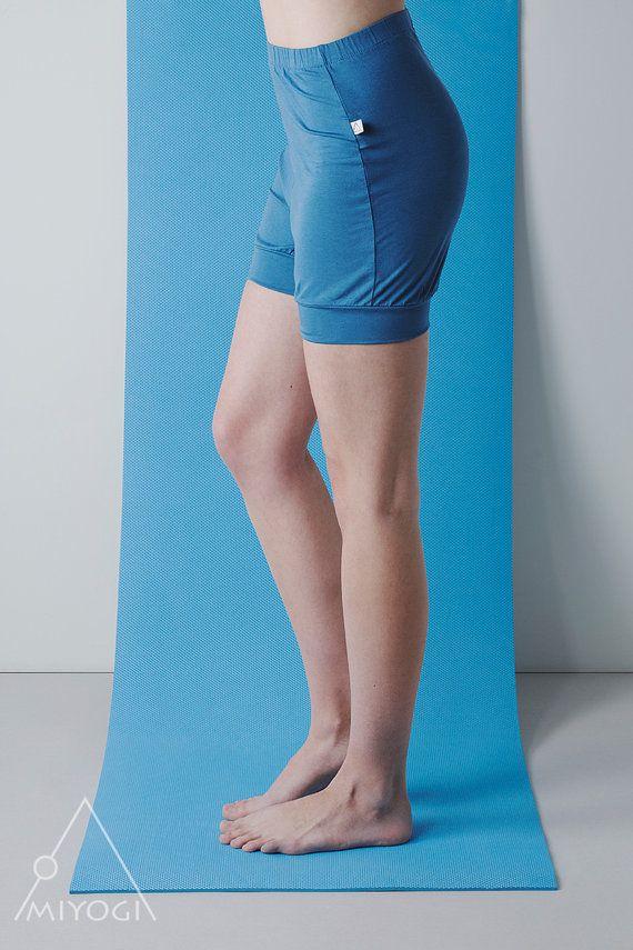 Blue adjustable length yoga shorts / work-out shorts / by MIYOGI