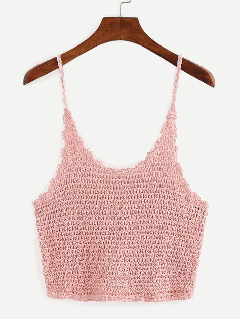 Crop+Crochet+Cami+Top+-+Pink+12.99