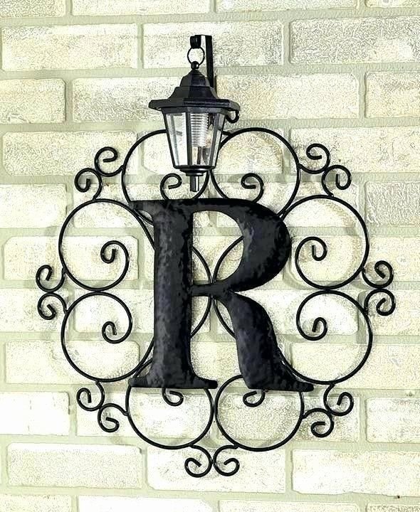 Wrought Iron Outdoor Wall Decor Unique Outdoor Wall Hanging Decor Metal Monogram Solar Light Art Outdoor Metal Wall Art Outdoor Wall Art Iron Wall Art