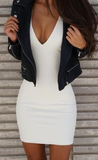 black + white. bodycon mini dress. leather jacket. summer style.