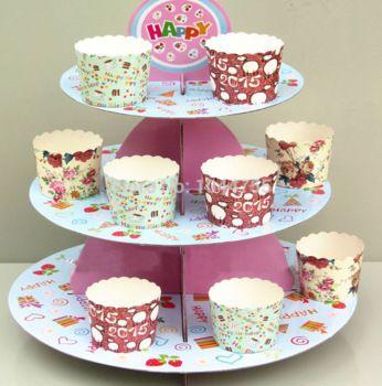 Новый! кекс стенд три слоя торт чашки стенды, свадебные birstday ну вечеринку торт бумажный стаканчик украшения