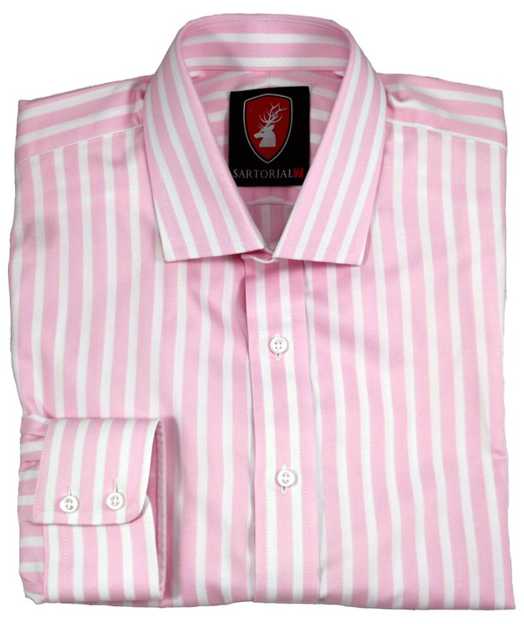 Pink and white striped - Egyptian cotton.