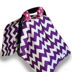 Car seat canopy purple chevron #chevron #stone #carseatcanopy #moocachoo #babyproduct #handcrafted #onlineshopping #mommy #purple #pink #polkadots #summermusthave