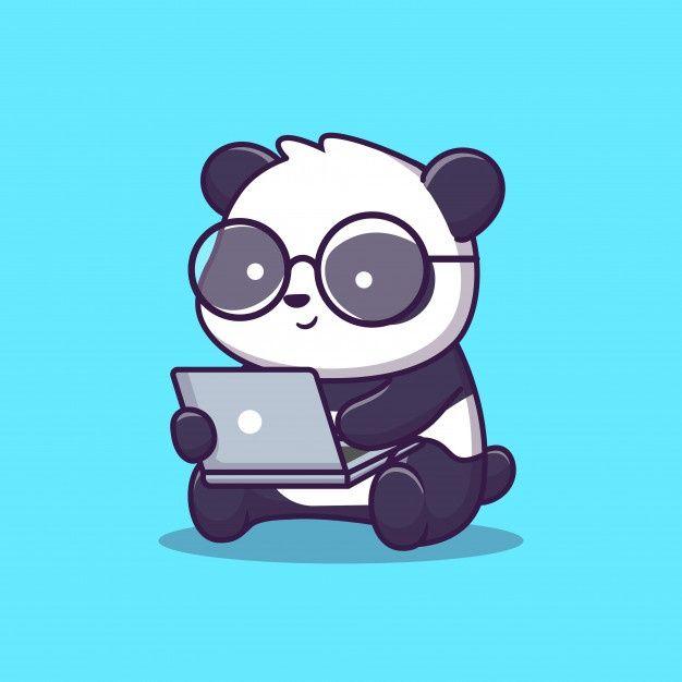 Cute Panda Play Laptop Illustration Animal Technology Flat Cartoon Style Cute Panda Cartoon Cute Panda Wallpaper Cute Cartoon Drawings Cute cute panda cartoon wallpaper