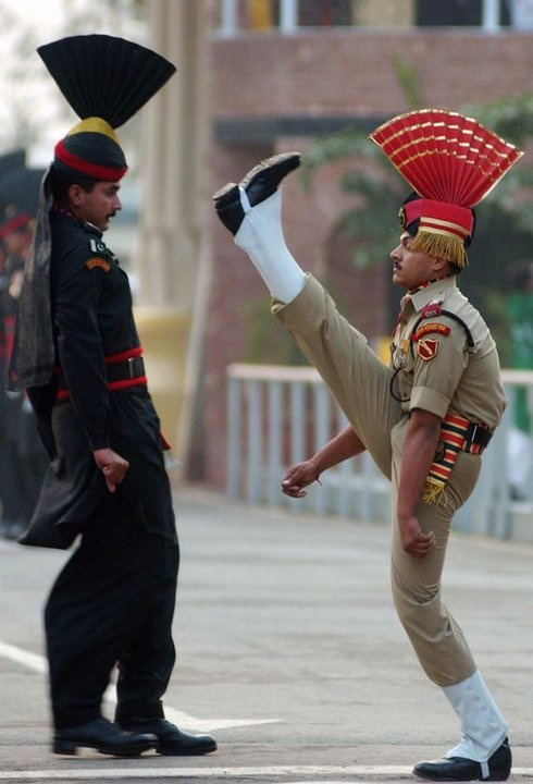 1.)Trying out for the Rockettes 2.)Night Club Audition . LOLOMAO BSF constable (right) and Pakistani frontier soldier (left) participates in the daily common border ceremony at Wagah in 2010. India's border troops , ( The Border Security Force (BSF) ) which was established in 1965, monitors the border with Pakistan , and consists of 215 000 police troops in 186 battalions.