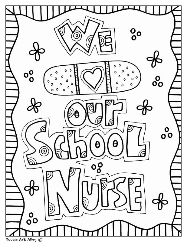 We Love Our School Nurse Free Coloring Pages School Nurse Appreciation Gifts Nursing School Gifts School Nurse Appreciation