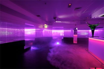 neon purple room london club tech lights parties light rooms prada backpack boy