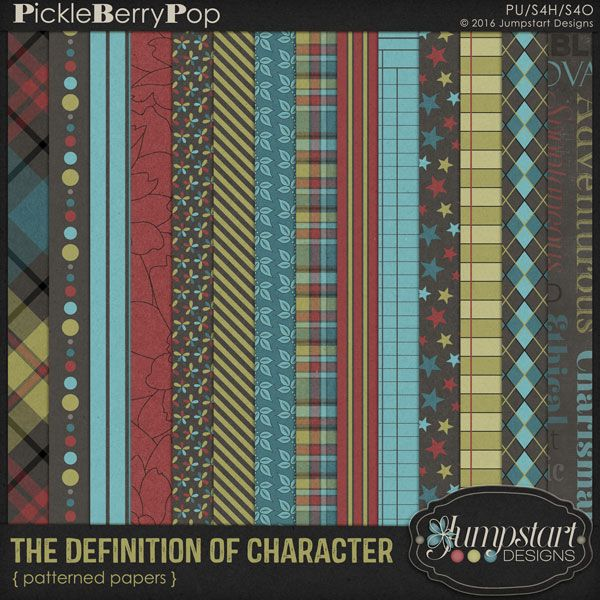 The Definition of Character ~ Patterned Papers By Jumpstart Designs
