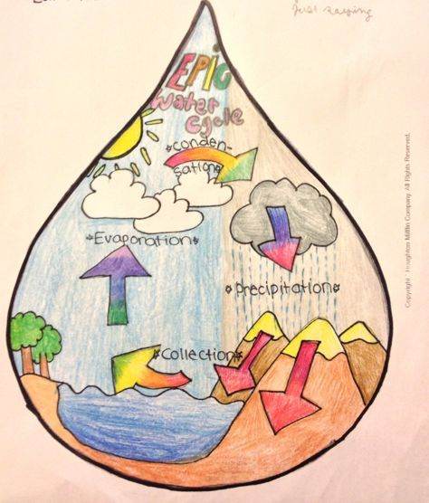 The water cycle as drawn in a droplet of water by esther 10